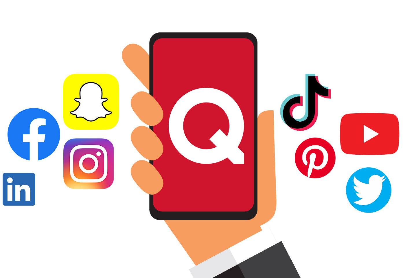 Social media accounts. Facebook, Snapchat, Instagram, Linkedin, TikTok, Pinterest, Youtube, Twitter. The Quell Group