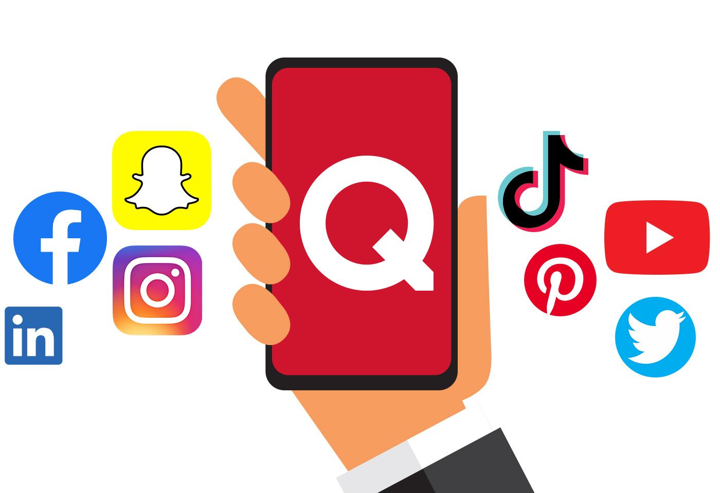 Social media accounts. Facebook, Snapchat, Instagram, Linkedin, TikTok, Pinterest, Youtube, Twitter. The Quell Group